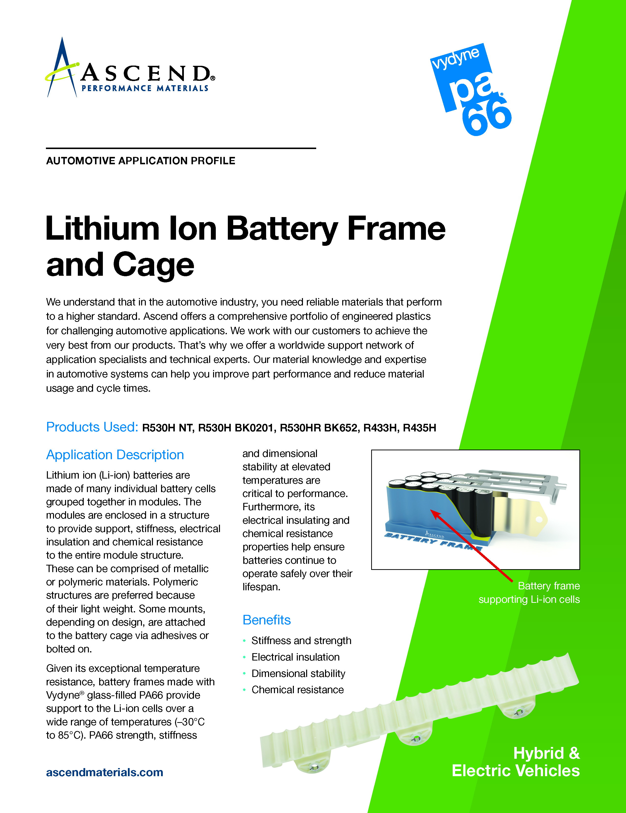 Auto EV application: Lithium Ion Battery Frame and Cage