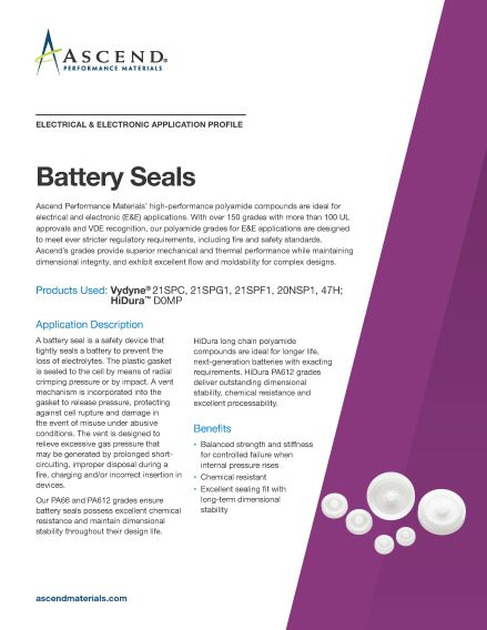 Electrical/electronic application: battery seals