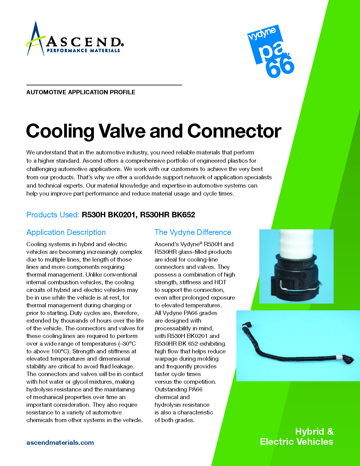 Auto EV application: cooling valve and connector