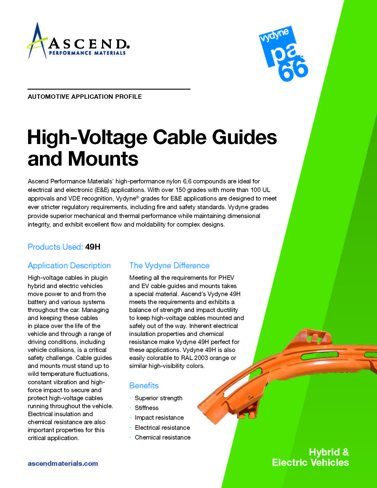 Auto EV application: high voltage cable guide