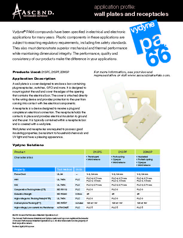 Electrical/electronic application: wall plates and receptacles