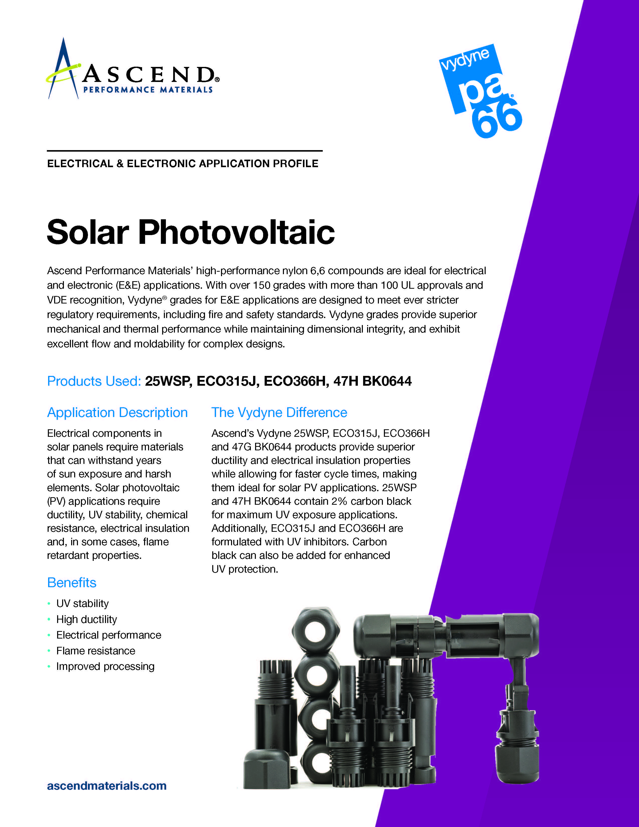 Electrical/electronic application: solar photovoltaic